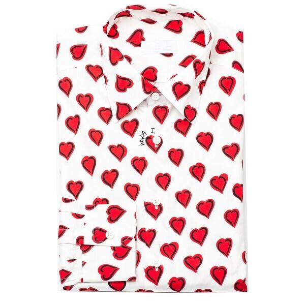 "Prada Men's ""I Love Prada"" Spread Collar Cotton Dress Shirt White"