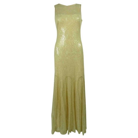 Lauren Ralph Lauren Women's Sequined Lace Gown - Beige