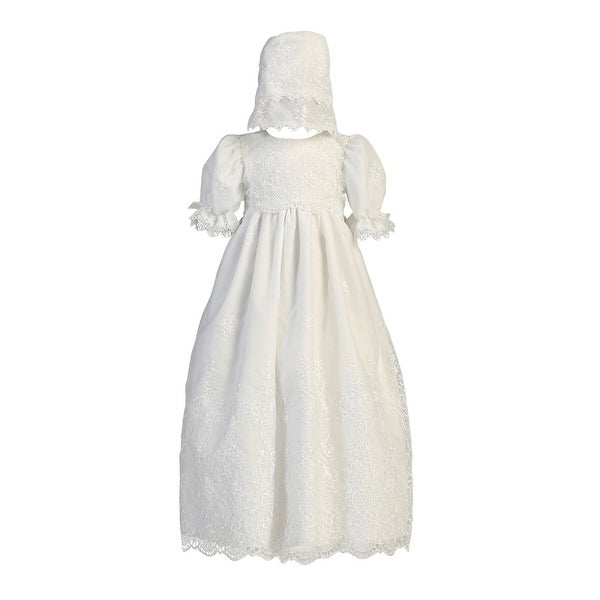Baby Girls White Embroidered Organza Gown Bonnet Baptism Set 0-18M