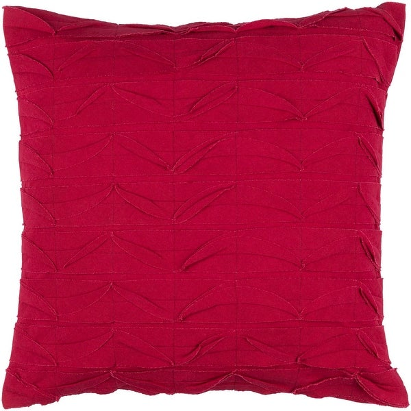 "20"" Bright Red Solid Textured Square Design Decorative Throw Pillow"