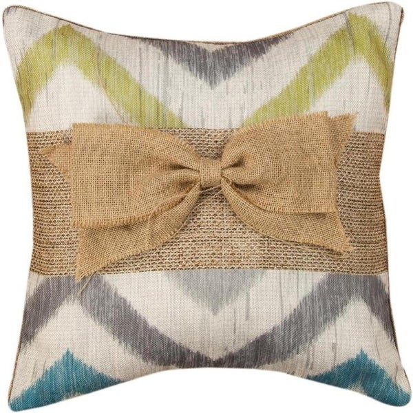 "16"" Ivory and Gray Chevron Patterned Burlap Bow Square Throw Pillow"
