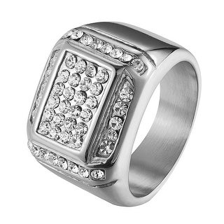 Stainless Steel Mens Ring Wedding Engagement Pinky Ring Lab Diamonds