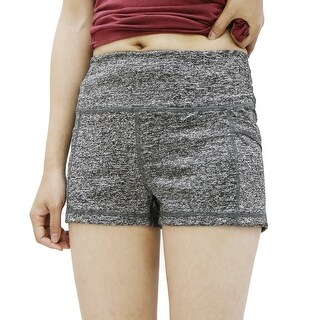 Women Gray Size L Dual Pockets Quick Dry Skinny Waistband Gym Sport Shorts Pants