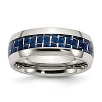 Chisel Stainless Steel Blue Carbon Fiber Inlay Polished Band (8 mm)