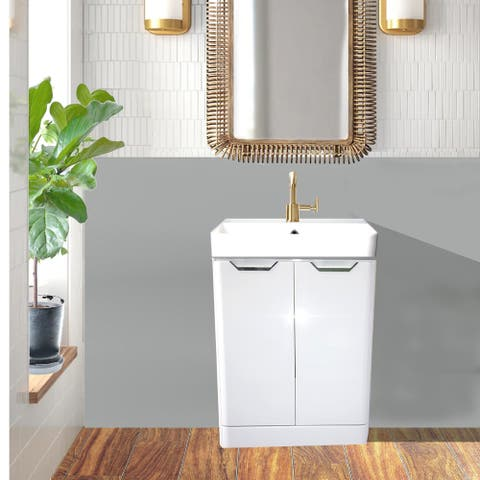 Highpoint Collection White Glossy Modern Floor Vanity-White