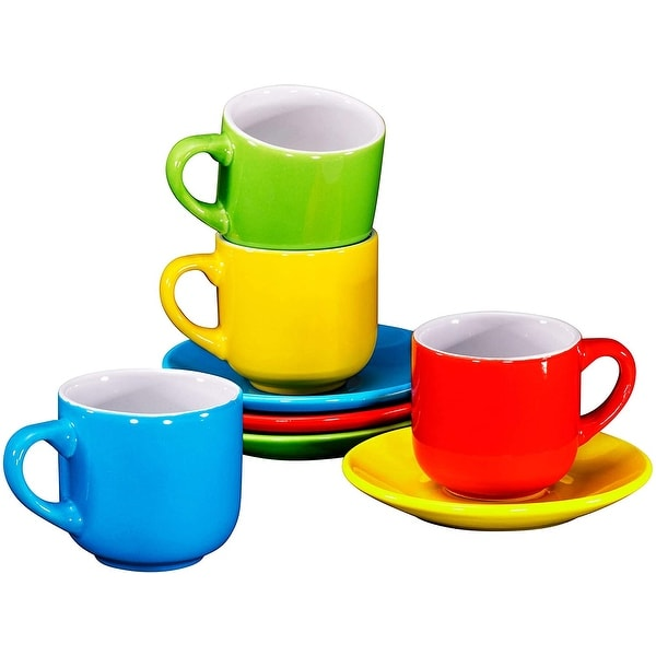 Espresso Cups with Saucers by Bruntmor - 4 ounce
