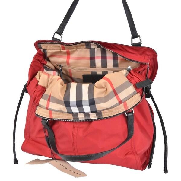 Shop Burberry Red Nylon Nova Check Purse Handbag Shopper - On Sale ... 956ffa1e7c0cd