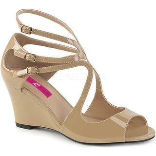 4d4f05e5296a Pleaser Pink Label Women s Kimberly 04 Wedge Sandal Cream Patent
