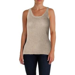 Lauren Ralph Lauren Womens Petites Sweater Vest Linen Blend Scoop Neck
