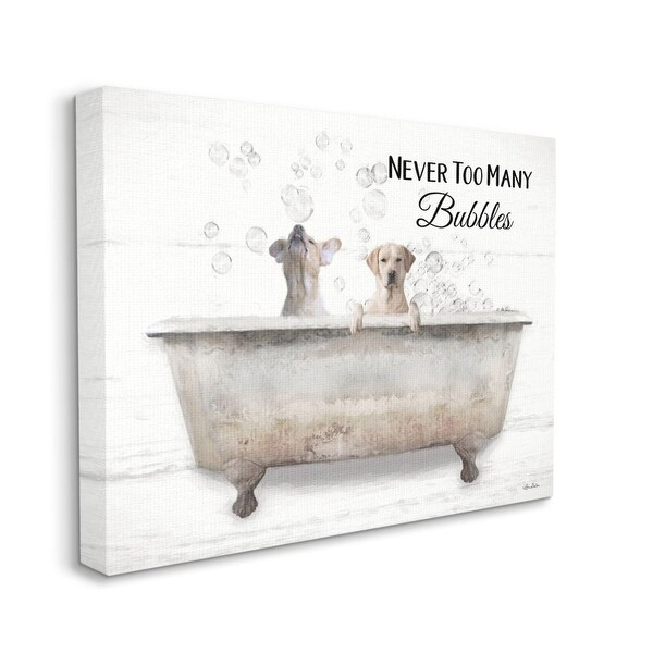 Stupell Industries Never Too Many Bubbles Quote Family Pet Dog Bath Canvas Wall Art - Beige. Opens flyout.