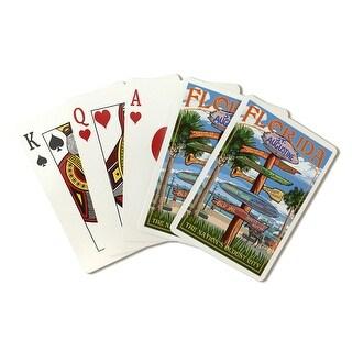 St. Augustine, FL - Destinations Sign - LP Artwork (Poker Playing Cards Deck)