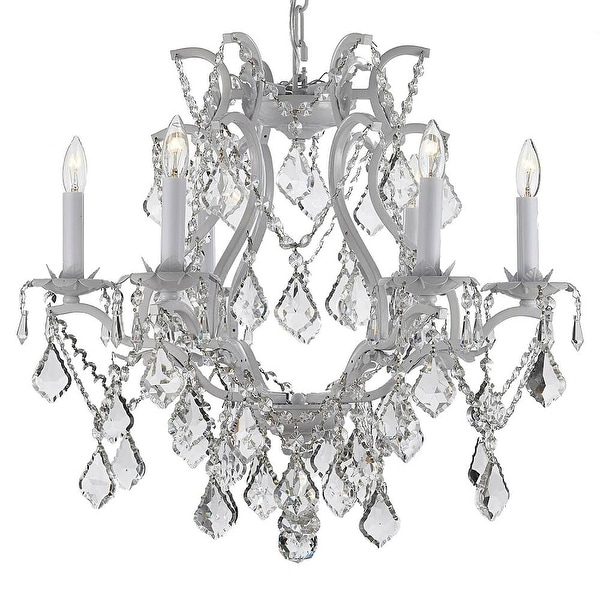 Swarovski Crystal Trimmed Maria Theresa Chandelier Lights Fixture Pendant Ceiling Lamp Dressed with Large, Luxe Crystals - White