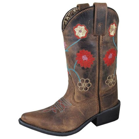 Smoky Mountain Western Boots Girls Fleur Snip Toe Brown