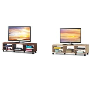 Costway TV Stand Unit Media Center Console Shelf Cabinet Hold up to 60'' TV w/Wheels Oak - 59'' x 13'' x 16 ''(L x W x H)