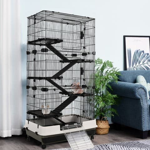 PawHut 6-tier Platform Rolling Small Animal Rabbit Cage for Hamsters, Chinchillas, & Gerbils with a Large Living Space - Black