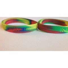 Two Multi Colored Silicone Autism Awareness ADULT Bracelet