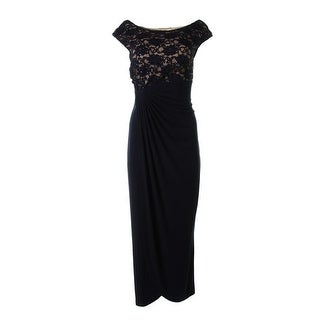 Connected Apparel Womens Gathered Lace Top Evening Dress