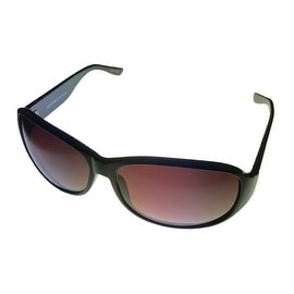 Ellen Tracy Womens Sunglass 506 1 Black Rectangle Plastic, Smoke Gradient Lens - Medium