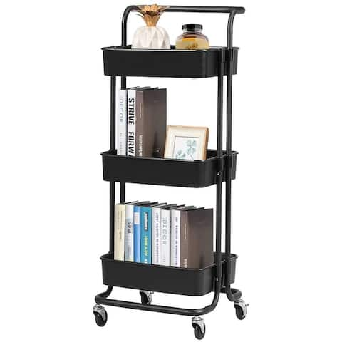 3-Tier Rolling Utility Cart Handle Makeup Cart with Roller Wheels Mobile Storage Organizer