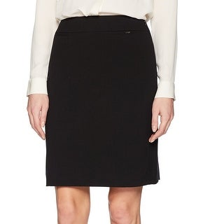 Tahari by ASL Black Womens 16P Petite Solid Straight Pencil Skirt