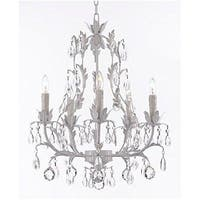 White Floral Chandelier With Crystal Balls