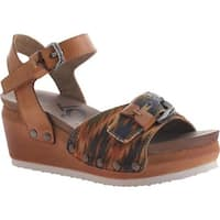 OTBT Women's Danbury Wedge Sandal New Taupe Fabric/Leather