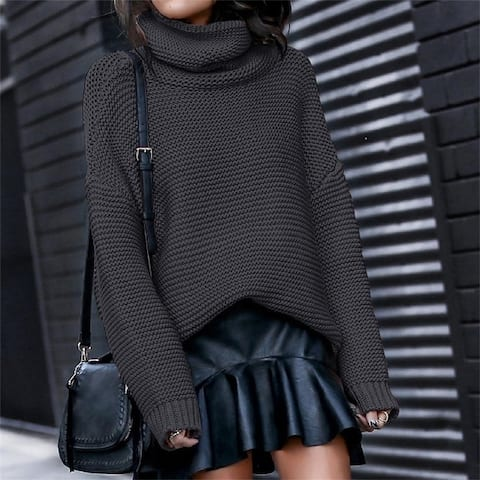High Neck Long Sleeve Loose Sweater