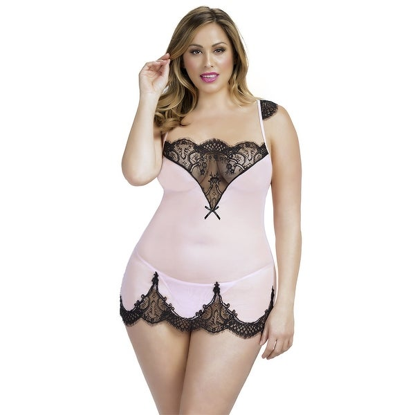 d6a6b89fef1 Shop Plus Size Dainty Eyelash Lace Chemise - Free Shipping On Orders Over   45 - Overstock - 18292527