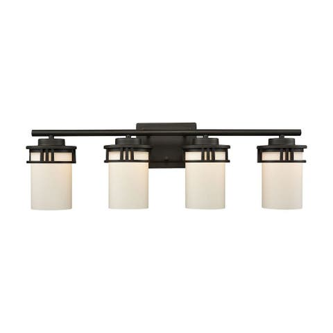 Cylinder Shaped Glass Shades Four Light Bath Vanity with Straight Arm and Rectangular Back Plate