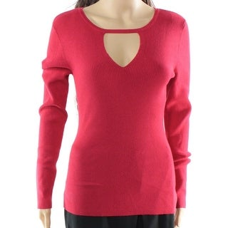 INC NEW Real Red Womens Size XL Cutout Ribbed Long-Sleeve Sweater