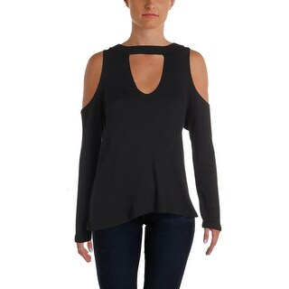 LNA Clothing Womens Verdana Pullover Sweater Choker Cold Shoulder - L