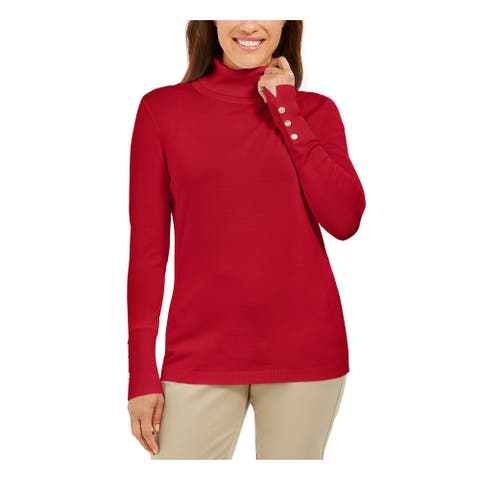 JM COLLECTION Womens Red Long Sleeve Blouse Wear To Work Top Size S