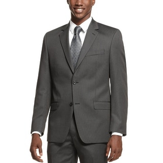 Shaquille O'Neal Regular Fit Charcoal Striped Two Button Sportcoat 38 Short 38S