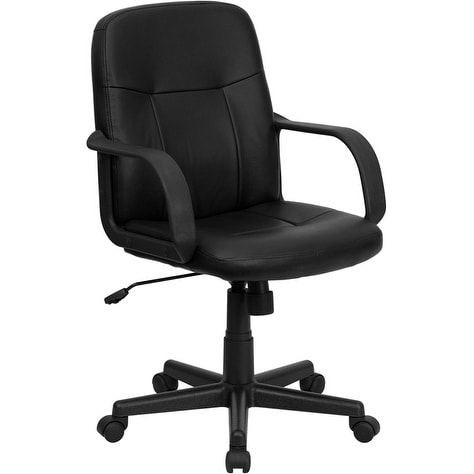 Brielle Collection Mid-Back Black Glove Vinyl Stylish Executive Swivel Chair w/Arms