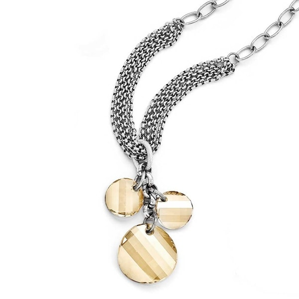 Chisel Stainless Steel Polished Crystal Necklace (11 mm) - 20.5 in