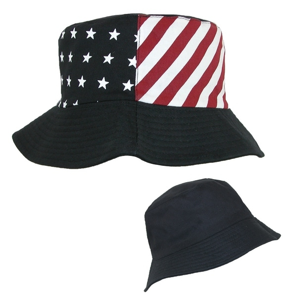 0b2e9ad2337 Something Special Cotton American Flag USA Reversible Bucket Hat - Free  Shipping On Orders Over  45 - Overstock.com - 20864002