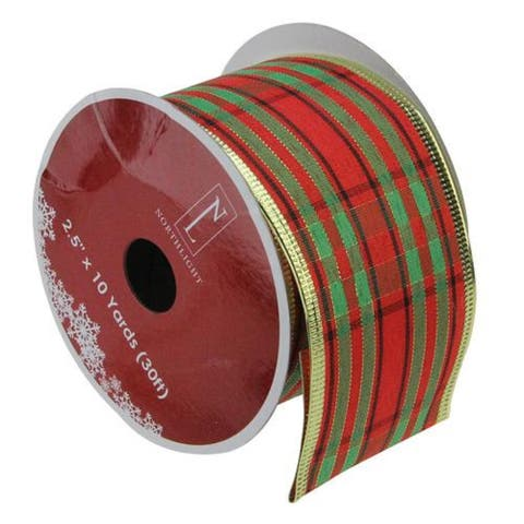 Red and Green Striped Christmas Wired Craft Ribbon
