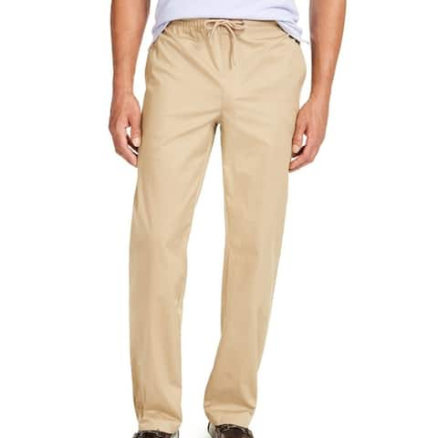 Alfani Mens Pants Sand Beige Large L Drawstring Straight Stretch Twill