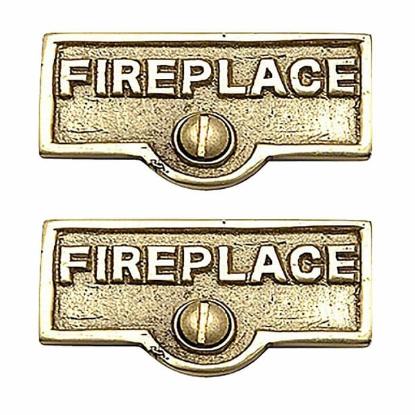 2 Switch Plate Tags FIREPLACE Name Signs Labels Brass | Renovator's Supply