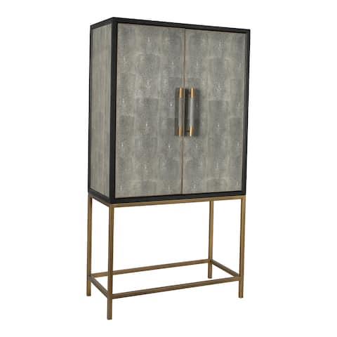Aurelle Home Milton Solid Oak and Brass Bar Cabinet