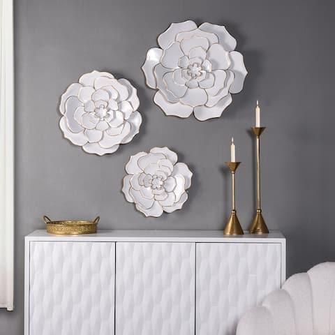 StyleCraft Floral Metal Wall Art (Set of 3) - 24 x 24
