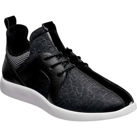 Stacy Adams Men's Briscoe Center Seam Sneaker Black Croco Print Textile/Patent/Knit