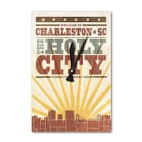 Charleston, SC - Skyline & Sunburst - LP Artwork (Acrylic Wall Clock) - acrylic wall clock