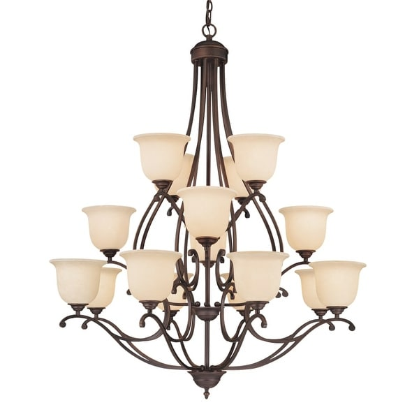 Millennium Lighting 1016 Courtney Lakes 16 Light Three Tier Chandelier - Rubbed bronze