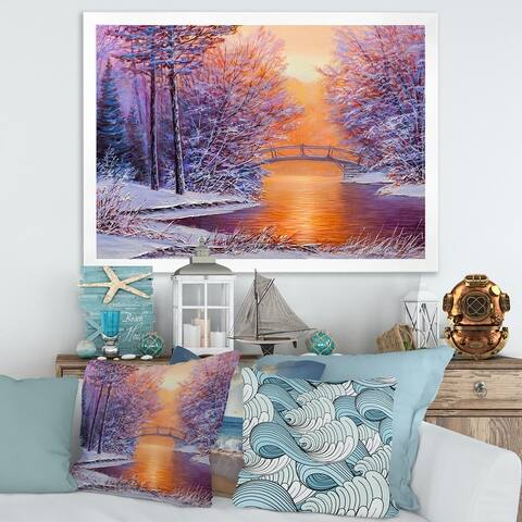 Designart 'Bridge Over The River In Winter Landscape' Traditional Framed Art Print