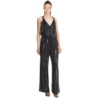 Parker Donny Embellished Beaded Racerback Wide Leg Jumpsuit