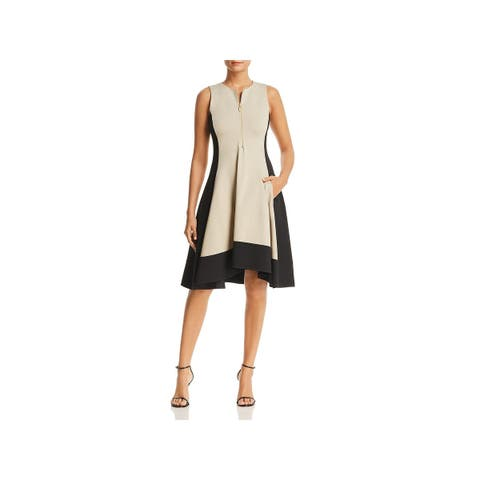 Donna Karan Womens Cocktail Dress Sleeveless Colorblock