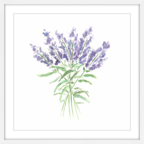 "Marmont Hill MH-THISPA-16-WFP-32 32"" x 32"" - ""Lavender Herbs"" Framed Giclee Print on Paper by Thimble Sparrow - Purple"