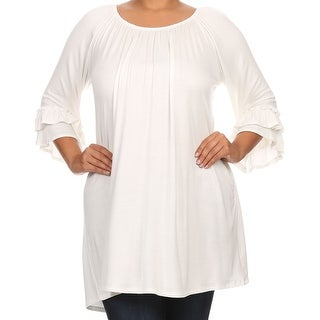 Women Plus Size Half Sleeve Solid Off Shoulder Casual Tunic Top Dress Ivory