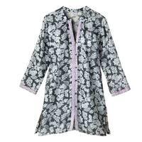 Women's Sleep Shirt - Evening Shade Floral Button-Front Long Pajama Top